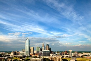 Updated Charlotte NC skyline photography with Duke Energy tower, Bank of America tower and Wells Fargo tower.